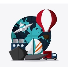 Planet hot air balloon airplane ship truck vector