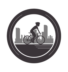 Person riding bike with helmet emblem icon vector