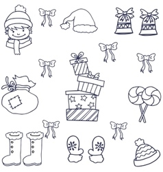 Doodle of object christmas hand draw vector