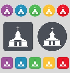 Church icon sign a set of 12 colored buttons flat vector