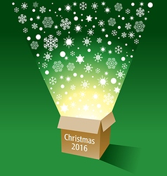 A magical cardboard box with radiant snowflakes vector