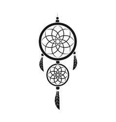 Dreamcatcher icon in black style isolated on white vector image