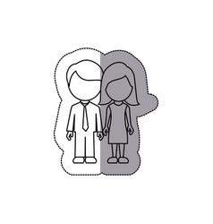 silhouette couple sticker icon vector image