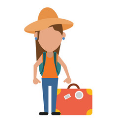 woman traveling hat and suitcase vector image