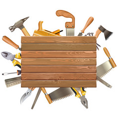 wooden board with hand tools vector image