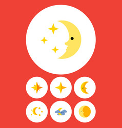 Flat icon bedtime set of bedtime lunar midnight vector