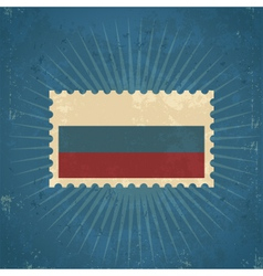 Retro russia flag postage stamp vector