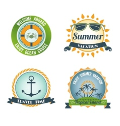 Travel color labels vector
