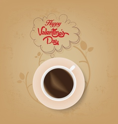 Cup of coffee with valentines bubble vector