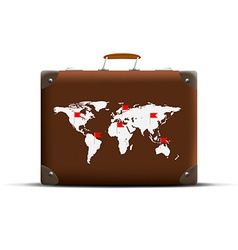 Map of earth on a brown suitcase vector