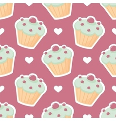 Tile pattern with cupcake and white hearts vector