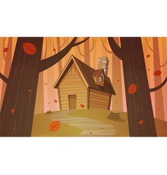 Cabin in woods - autumn vector