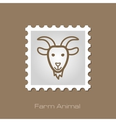 Goat stamp animal head vector
