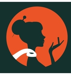 Beautiful elegant woman silhouette with little vector image