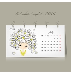 Calendar 2016 july month season girls design vector