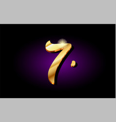7 seven number numeral digit golden 3d logo icon vector image