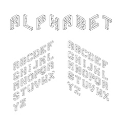 Isometric latin alphabet wireframe letters 3d vector