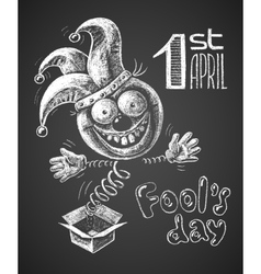 April fool drawn on chalkboard vector
