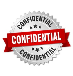 Confidential 3d silver badge with red ribbon vector