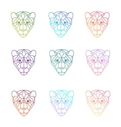 Set of polygonal head of tiger in vector