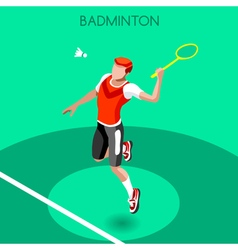 Badminton 2016 Summer Games Isometric 3D vector image
