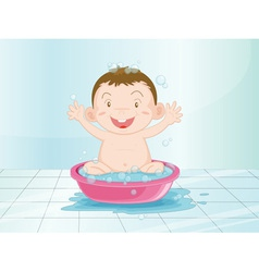 Baby in the bathroom vector image