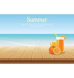 Summer background blue sky with sea and wooden vector