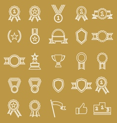 Award line icons on brown background vector image