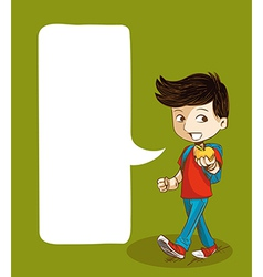 Back to school education boy with social bubble vector image vector image