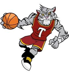 Basket ball mascot white tiger vector