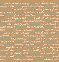 Beach lettering seamless pattern vector