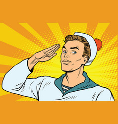 beautiful sailor salutes the marine profession vector image
