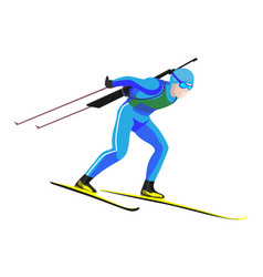 Biathlete skier racing down on high speed on skis vector
