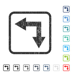Bifurcation arrow left down icon rubber watermark vector