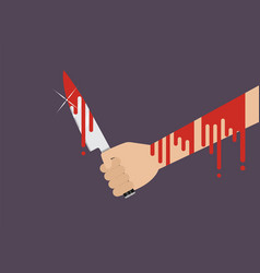bloody hand holding a knife vector image
