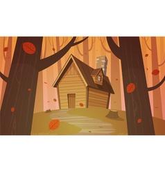 Cabin in woods - autumn vector