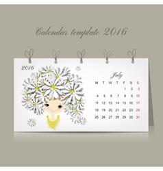 Calendar 2016 july month season girls design vector