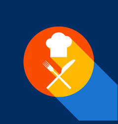 chef with knife and fork sign white icon vector image vector image