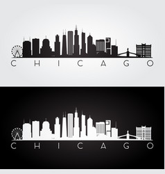 chicago usa skyline and landmarks silhouette vector image