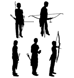 Collection of silhouettes of people of archers vector image vector image