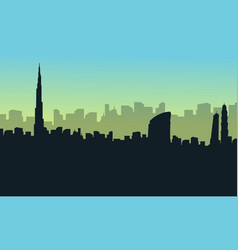 Collection stock of dubai city scenery silhouettes vector