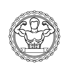 Contour stamp with half body muscle man and label vector