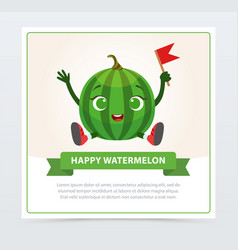 cute humanized watermelon character happy vector image vector image