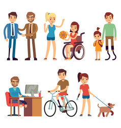 disabled young woman and man in in day routine vector image