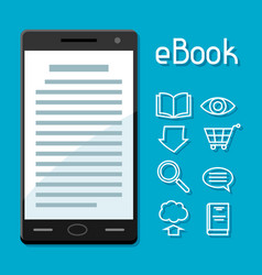E-book concept smart phone with book digital vector