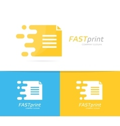 fast file logo combination Speed document vector image vector image