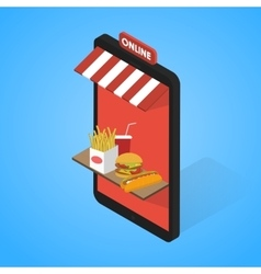 Fast food icons set Isometric Tablet mobile vector image