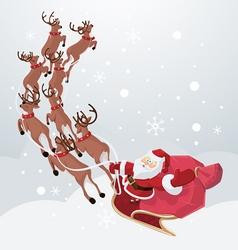 Flying santa on deers vector
