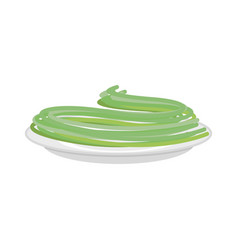 Green spinach pasta in plate spaghetti isolated vector