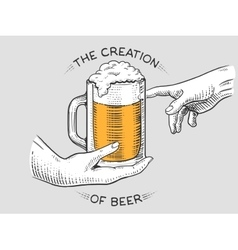 Hands with cup of beer engraving style vector